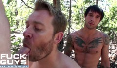 Ethan Ever, Aaron French and Seth Chase Fuck Raw Outdoors